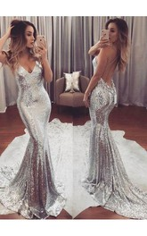 Mermaid Trumpet Sequins Spaghetti Sleeveless Open Back Straps Dress