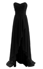 Feminine High-low Ruched Chiffon Dress With Gathered Waist