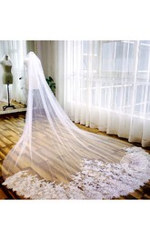 2018 Korean Style Long Wedding Veil with Lace Edge