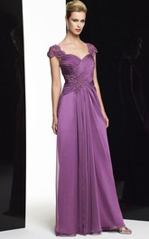 Sheath Cap-Sleeve Criss-Cross Long Sweetheart Satin Chiffon Formal Dress With Beading