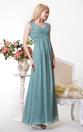 Graceful Cap-sleeved Empire Chiffon A-line Gown Lace Appliques