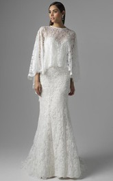 Sheath Appliqued Long Jewel Bat-Sleeve Lace Wedding Dress With Brush Train And Illusion Back