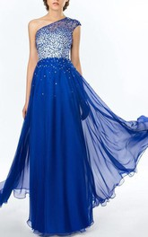 Charming One Shoulder Beading Sequins A-Line Floor Length Prom Dress