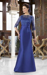 Maxi Jewel Neck Lace 3-4 Sleeve Satin Mother Of The Bride Dress With Bow