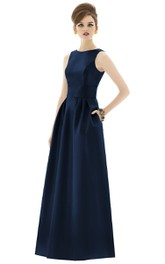 Long Bateau Sleeveless Satin Dress with Pockets and Pleats