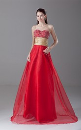 Stylish Sweetheart Beaded Sleeveless Organza Special Occasion Dresses