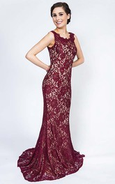 Sheath Long Scoop Sleeveless Lace Prom Dress With Illusion Back And Brush Train