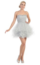 A-Line Short Strapless Tulle Lace-Up Dress With Ruffles And Waist Jewellery