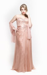 Sweetheart Sheath Lace Long Dress With Satin Sash