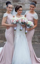 Modern Jewel Cap Sleeve Mermaid Bridesmaid Dress With Beadings