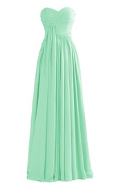 Strapless Sweetheart Ruched A-line Gown With Drapping
