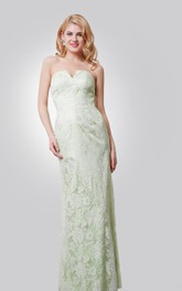 Sheath Lace Dress With Notched Neck and Back Slit