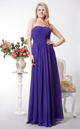 Simple Style Sweetheart Pleated A-line Chiffon Gown