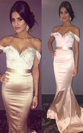 Newest Beadings Mermaid 2018 Prom Dress Sweep Train Off-the-shoulder