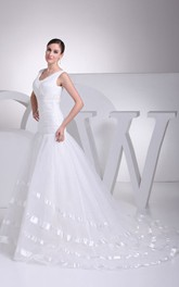 Fairy V-Neck Sleeveless Tulle A-Line Dress With Ruched Bodice