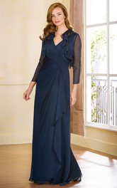 V-Neck Long Mother Of The Bride Dress With Ruffles And 3-4 Sleeved Jacket Style