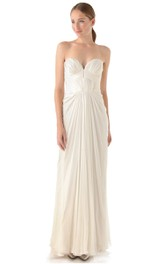 Long Sweetheart Empire Chiffon Dress With Draping