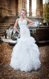 Mermaid Long Scoop Sleeveless Illusion Organza Dress With Beading And Ruffles