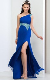 One Shouder Pleats Beaded Side Split Prom Dress
