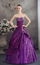 Sweetheart Pick-Up Appliqued Satin Embroideries and Gown With Stress
