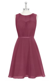 Chiffon Sleeveless A-Line Dress With Bateau Neckline and Pleated Bodice