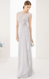 Lace Top Cap Sleeve Side Drape Chiffon Long Dress With Waist Flower