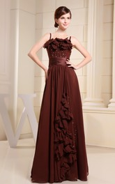 Sleeveless Pleated Chiffon Dress With Beading and Flower