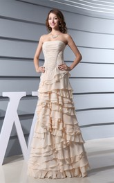 Sleeveless Chiffon A-Line Ruched Tiers and Gown With Peplum