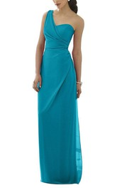 One Shoulder Sheath Chiffon Long Bridesmaid Dress