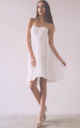 Ruched Sleeveless Short Mini Strapless Chiffon Wedding Dress