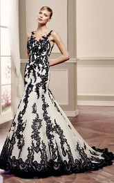 Mermaid Floor-Length Bateau Appliqued Sleeveless Lace Wedding Dress With Illusion Back And Court Train