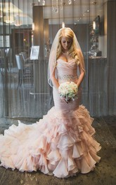 Sweetheart Tiered Train Organza Mermaid Wedding Dress with Beading