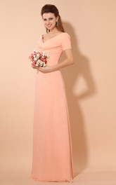 V-Neck Short-Sleeve Chiffon Floor-Length Dress With Ruching