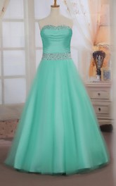 Sweetheart Ruched Tukke Ball Gown With Beading