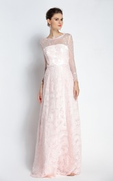 A-Line Floor-length Bateau Scalloped Lace Long Sleeve Prom Dress with Beading and Pockets