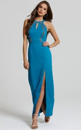 High-Neck Slit Dress With Embroidery And Keyholes