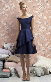 Elegant Knee Length Satin Scoop Bridesmaid Dress