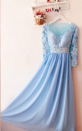 Charming Long Sleeved Chiffon Dress With Appliques And Sequins
