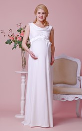 Scoop Neck Cap-sleeved A-line Chiffon Long Dress With Satin Sash