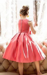 Flower Girl Jewel Neck Cap Sleeve Pleated Satin Gown With Bow