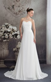 Sweetheart A-Line Chiffon Appliques and Gown With Ruching