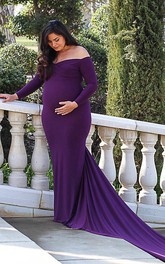 Sheath T-shirt Long Sleeve Empire Maternity Dress