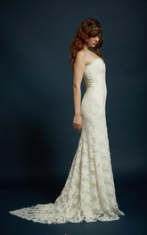 Sheath Sweetheart Strapless Floor Length Lace Gown With Scalloped Train