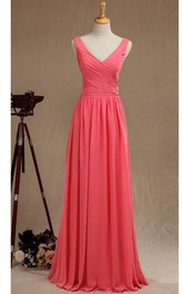 V Neck A-line Pleated Chiffon Floor Length Dress V Back