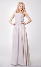 Graceful One-shoulder A-line Chiffon Floor Length Dress