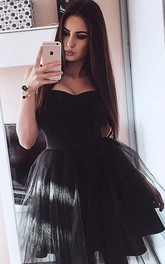 A-line Ball Gown Sleeveless Satin Tulle Sweetheart Short Mini Homecoming Dress