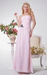 Simple Strapless Ruched A-line Long Chiffon Dress