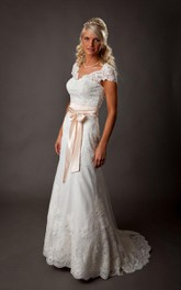 V-Neck Cap Sleeve A-Line Lace Dress With Illusion Back and Satin Bow Sash