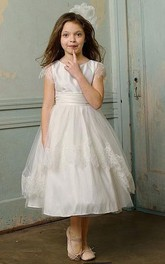 Flower Girl Tulle Cap Sleeve Taffeta Ball Gown With Sash