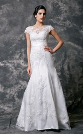 Cap Sleeve High Neck Beaded Lace Wedding Dress